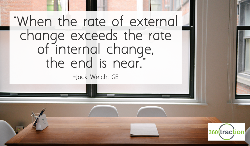"""When the rate of external change exceeds the rate of internal change, the end is near."" Jack Welch, GE"